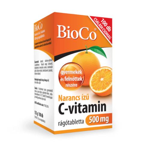 BioCo Narancs ízű C-vitamin 500 mg rágótabletta 100 db