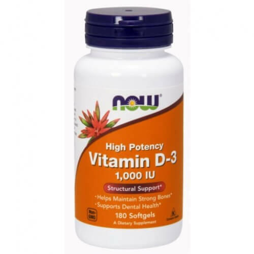 NOW Vitamin D-3 1000 IU 180 db. lágy zselatin kapszula