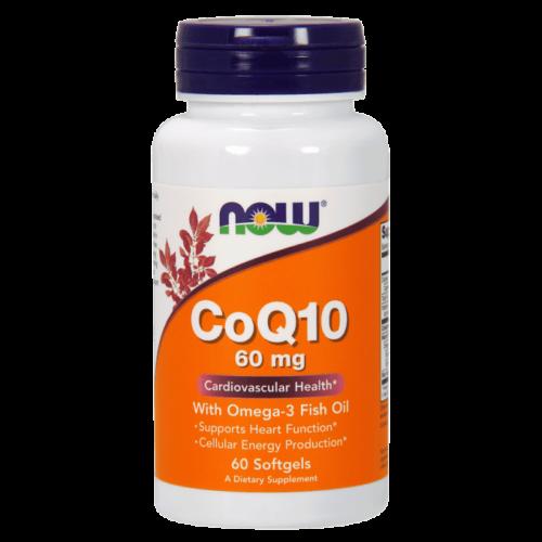 Now CoQ10 60 mg w Omega 3 Fish Oils - 60 Softgels