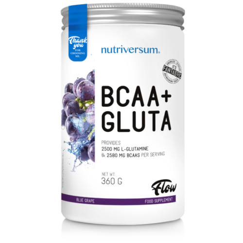 Nutriversum BCAA+GLUTA - FLOW -  kékszőlő 360 g