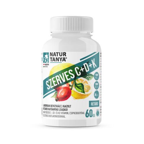 Natur Tanya® SZERVES C+D+K - Retard 1000mg C-vitamin, 2000IU D3-vitamin, 30 µg természetes natto fermentációjából származó K2-vitamin, csipkebogyó kivonat és citrus bioflavonoidok